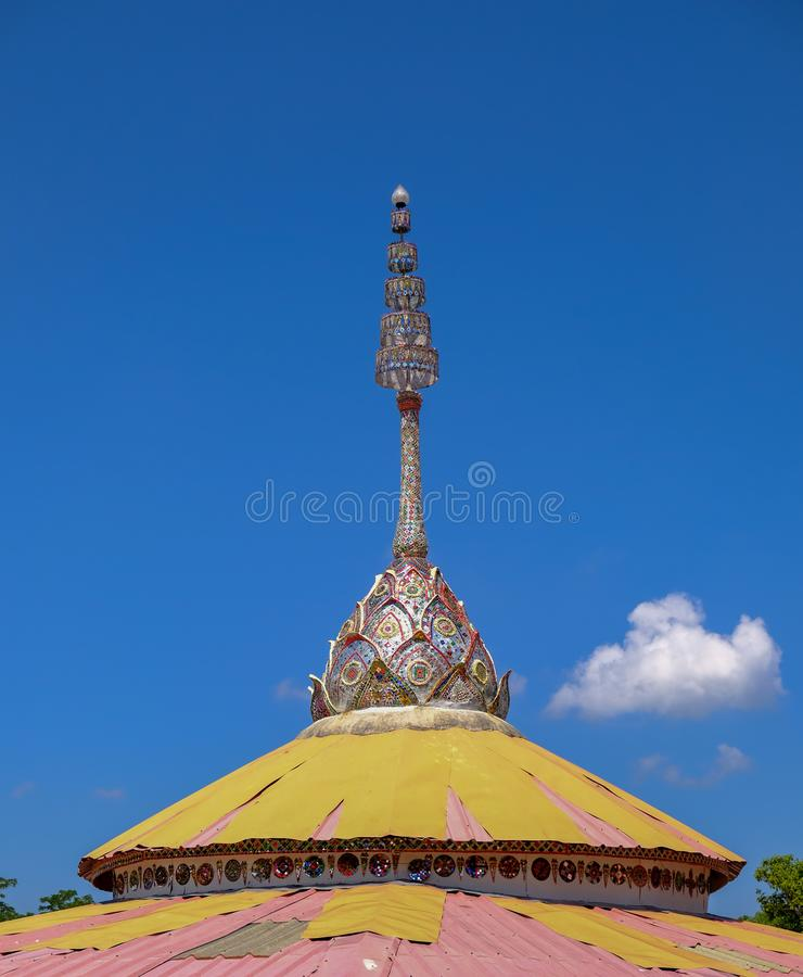 Buildings pagoda in temples, Buddhism in Thailand, sky background royalty free stock photos