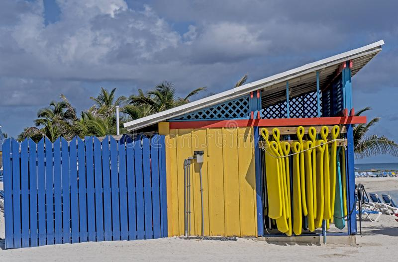 Blue and yellow colors of Key West. stock images