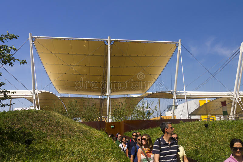 Buildings and pavilions on a sunny day at the Milan EXPO 2015. In Italy royalty free stock photo