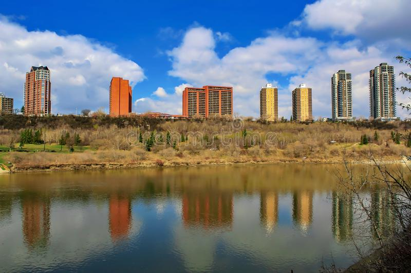 Buildings Reflected In River royalty free stock photo