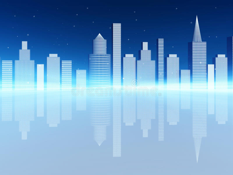Buildings with reflection royalty free illustration