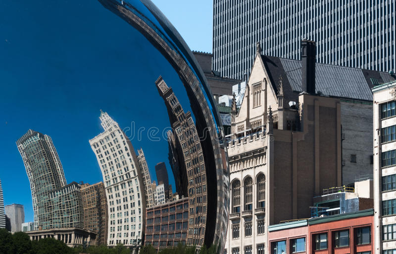 Buildings reflection in a Chicago Cloud Gate Bean royalty free stock photography