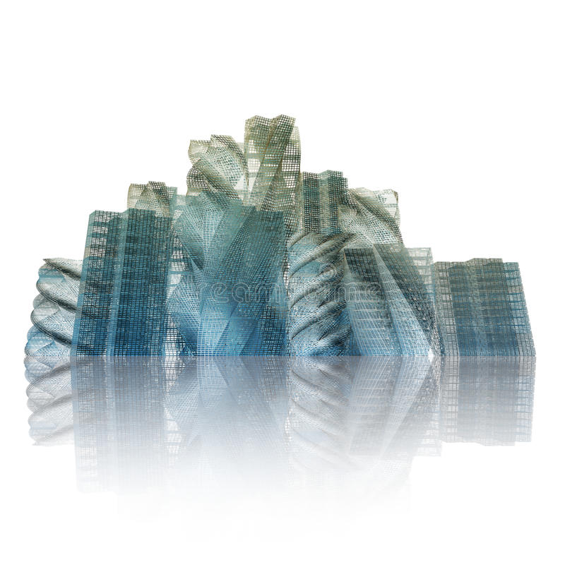 Buildings reflection white isolated stock image