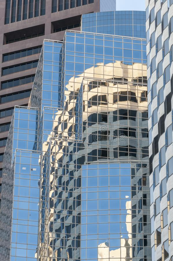 Buildings reflections angles shapes. Multiple buildings and multiple reflections in Boston financial district stock photo