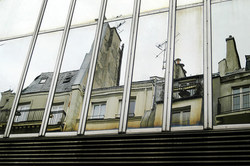Buildings reflections. On mirror facade royalty free stock photo