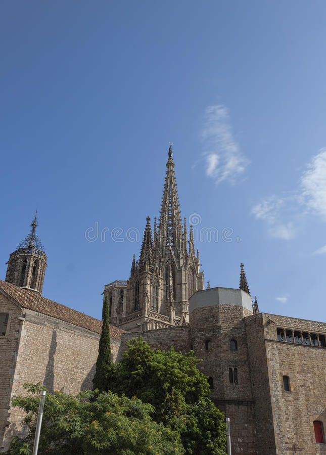 Buildings of the Roman Fort near the Metropolitan Cathedral Basilica of Barcelona. BARCELONA, SPAIN - JULY 13, 2013: Buildings of the Roman Fort near the royalty free stock photo