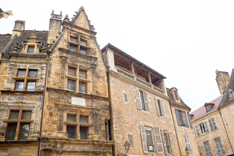 Buildings in Sarlat la Caneda made of stone stock photos