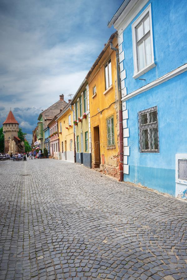 Buildings of Sibiu city stock photo