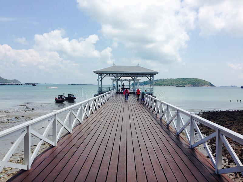 Bridge on Srichang island in Thailand royalty free stock images
