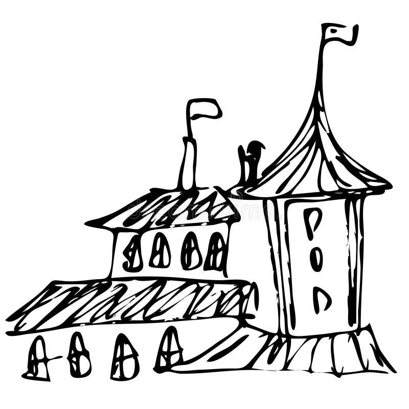 Buildings sketch on white, vector illustration. Ink trace. Buildings free-hand sketch. Vector illustration. Black and white vector illustration