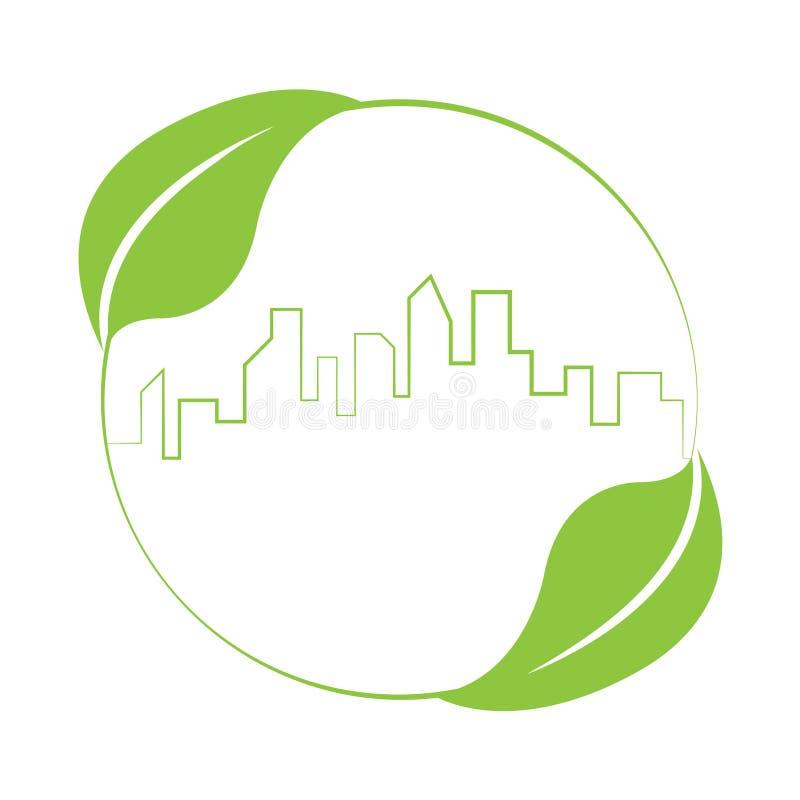 Buildings skyline logo sustainable green design. Logo vector of building skyline and leaves. Sustainable green design concept. Illustration isolated on white stock illustration