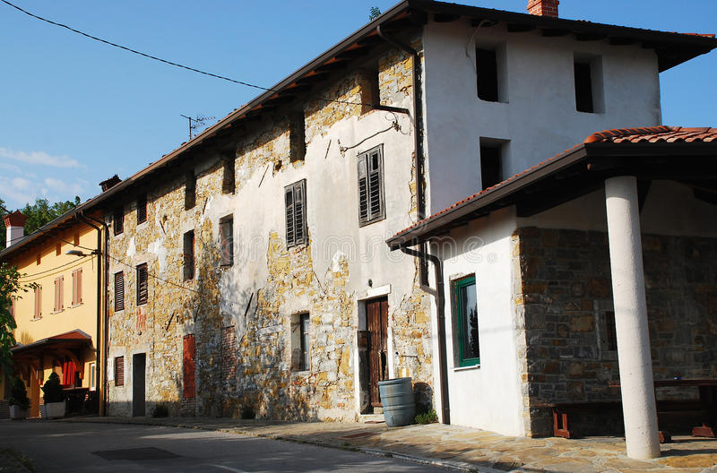 Buildings in Smartno. Old historic, yet rather delapidated building in the historic Slovenian town of Smartno in the Goriska Brda area royalty free stock photography