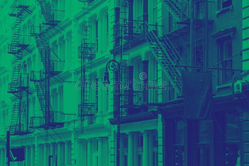 Buildings in SoHo New York City in green and blue stock images