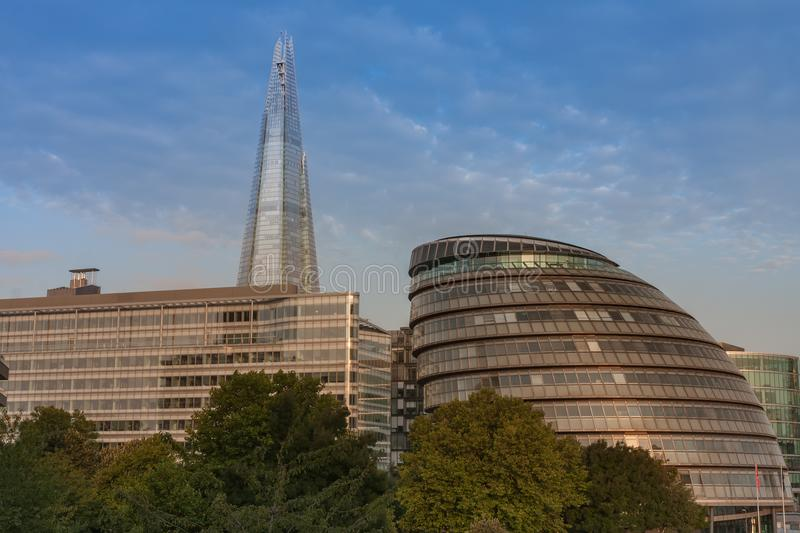 Buildings on the south bank of the river Thames in London royalty free stock photo