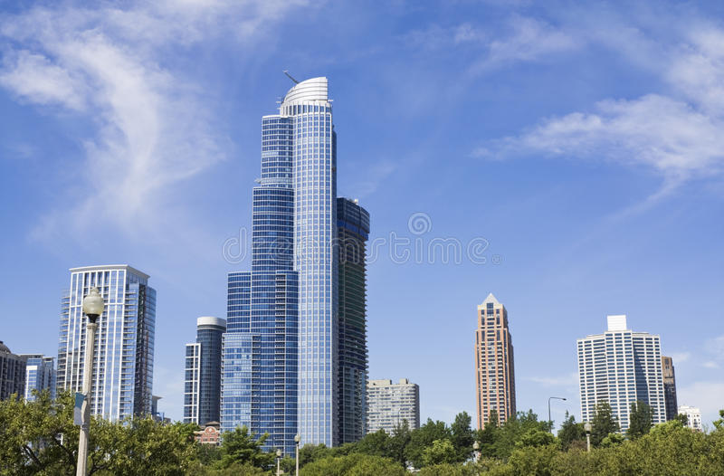 Buildings of South Loop in Chicago stock photo