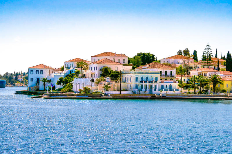 Buildings of Spetses island royalty free stock images