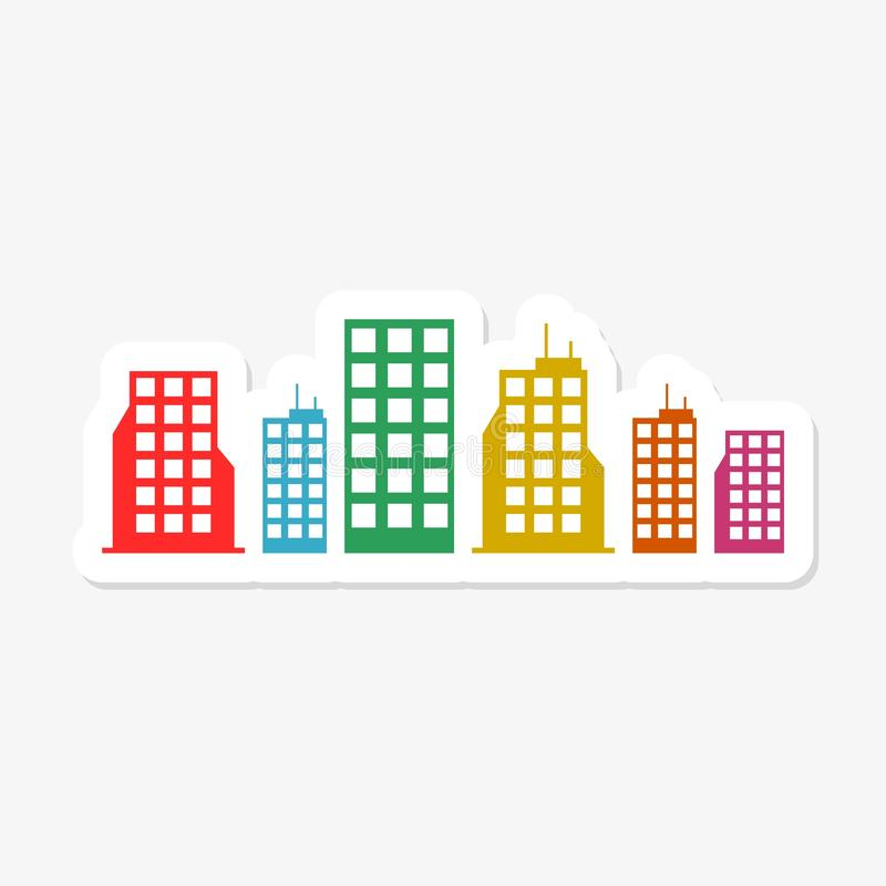 Buildings sticker isolated on white background. Buildings icon simple sign royalty free illustration