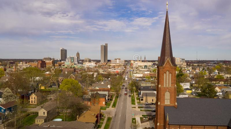 Buildings Streets and Homes in Fort Wayne Indiana. Aerial view over the downtown city skyline of Fort Wayne Indiana USA stock image
