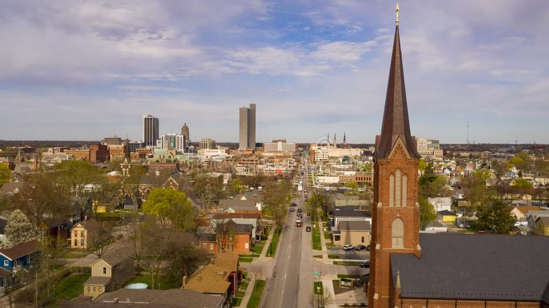 Buildings Streets and Homes in Fort Wayne Indiana. Aerial view over the downtown city skyline of Fort Wayne Indiana USA stock photo