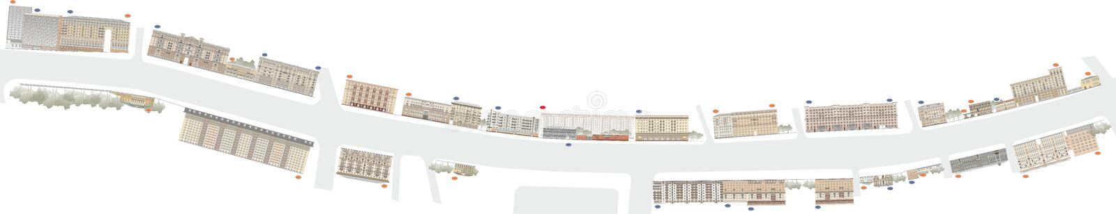 Buildings and structures of the early and mid twentieth century vector illustration