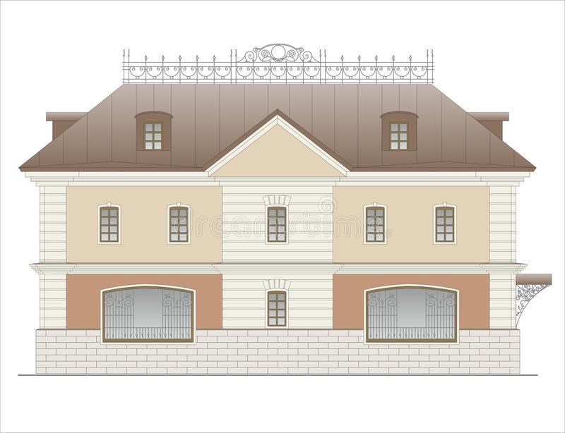 Buildings and structures of the early and mid twentieth century royalty free illustration