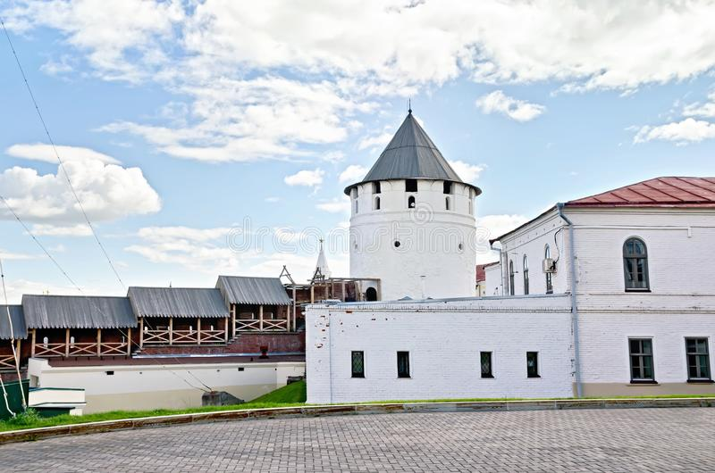Buildings and structures in the territory of the Kazan Kremlin. KAZAN, RUSSIA - JULY 26, 2014: A complex of architectural and historical monuments of the Kazan royalty free stock images