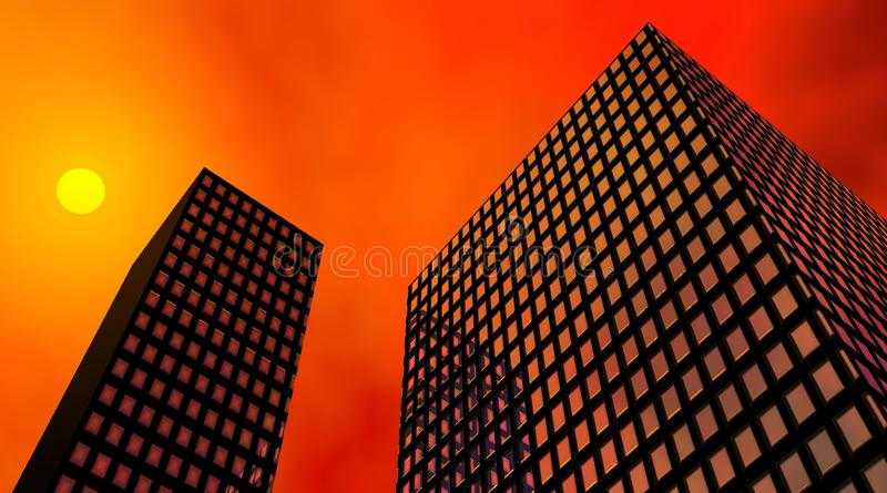 Buildings by sunset vector illustration