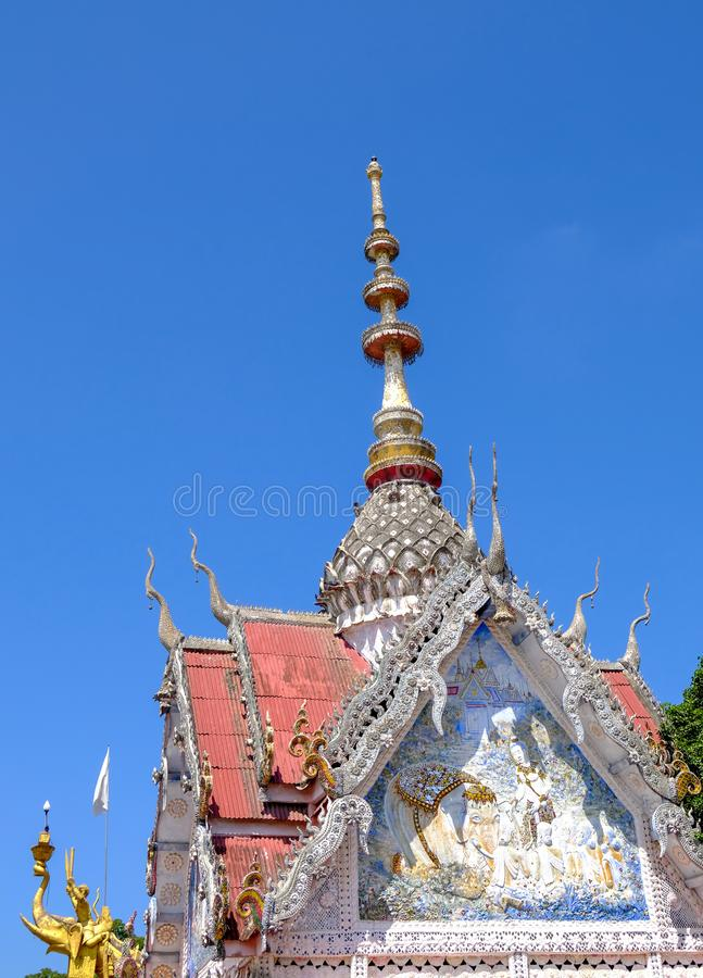 Buildings in temples, Buddhism in Thailand, sky background royalty free stock photos