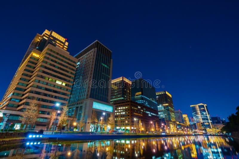 Buildings in Tokyo at night, Japan stock image