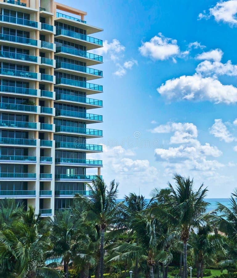 South Beach Miami Florida. Buildings trees sky view from South Beach Miami Florida stock photography