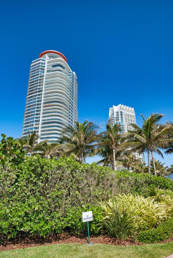 Buildings and trees in South Pointe Park, Miami Beach stock photography