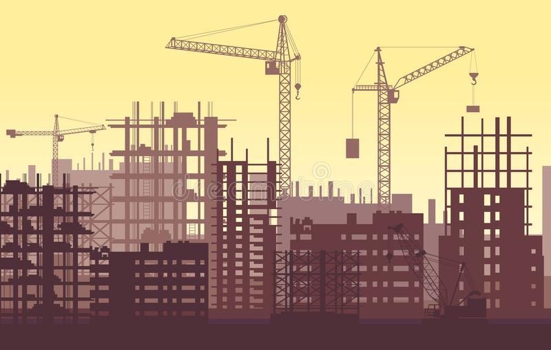 Buildings under construction in process. Urban construction site with cranes and skyscrapers. Buildings under construction in process. Urban construction site vector illustration