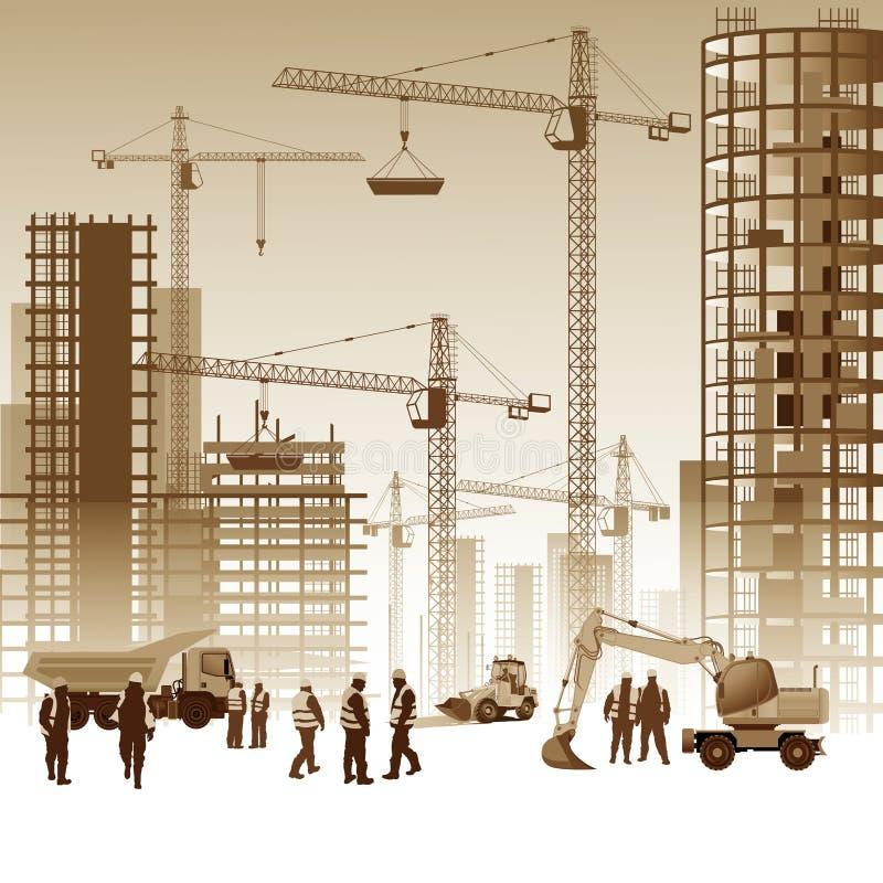 Buildings under construction vector illustration