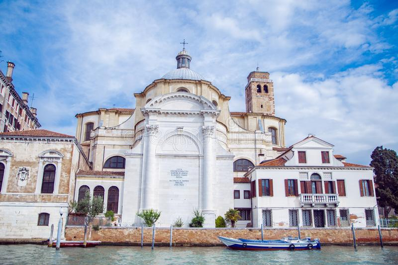 Buildings in Venice along the Grand canal. Against the blue sky. Italy royalty free stock images