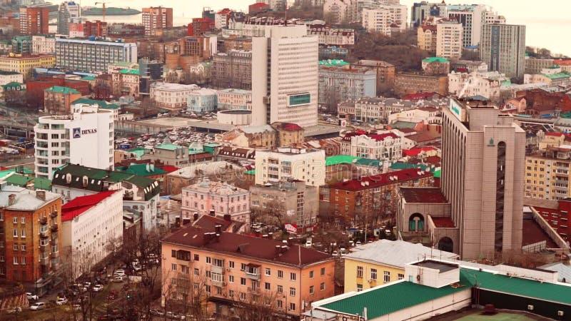 Buildings of Vladivostok city stock video footage