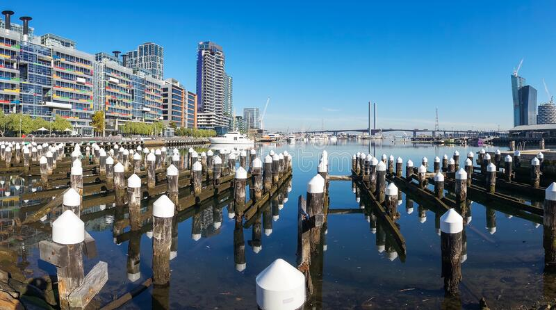 Buildings and waterfront property of Docklands suburb in Melbourne, Australia. Modern buildings and waterfront property of Docklands suburb of Melbourne stock photography