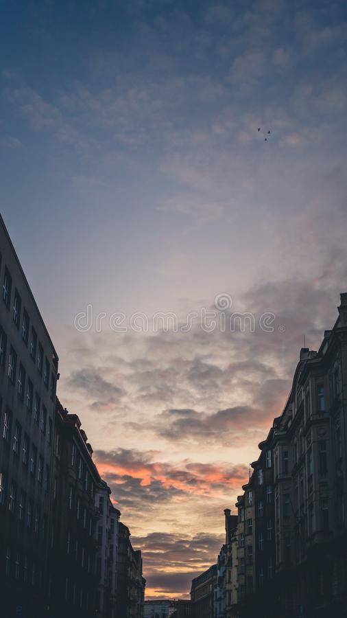 Buildings at Wenceslas square in Prague, Czech Republic at sunset.  royalty free stock photos