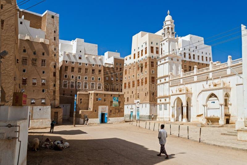Buildings in Yemen. Multi-storey traditional buildings made of mud in Shibam, Yemen stock photography