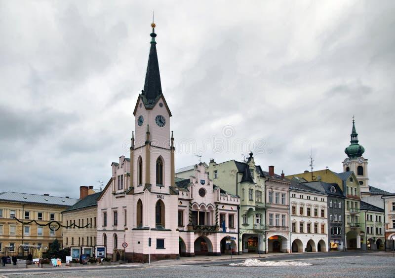 Buildins na Krakonosova kwadracie w Trutnov obrazy royalty free