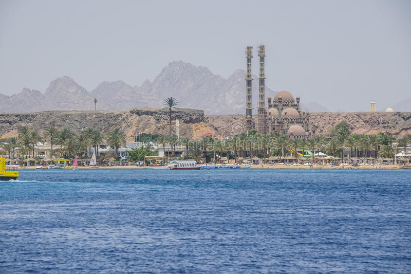 Builds mosque in sharm el sheikh. In the old town of Sharm el Sheik, Egypt is ongoing construction of a large mosque. The picture is shot one day In April 2013 royalty free stock photography