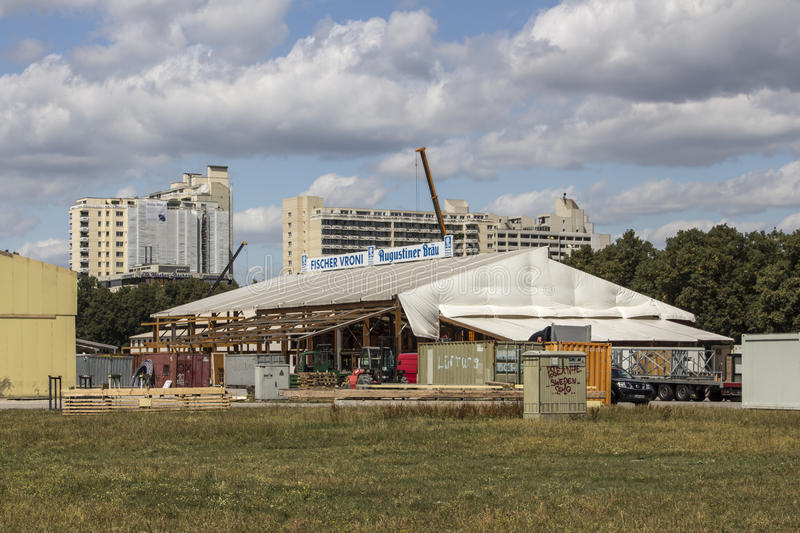 Buildup of the Oktoberfest tents at Theresienwiese in Munich, 20. Building works in preparation of the Oktoberfest 2015 with the buildup of the famous beer tents royalty free stock images