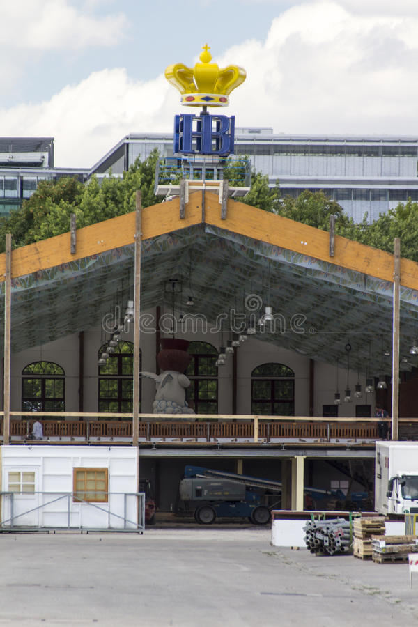 Buildup of the Oktoberfest tents at Theresienwiese in Munich, 20. Building works in preparation of the Oktoberfest 2015 with the buildup of the famous beer tents royalty free stock photo