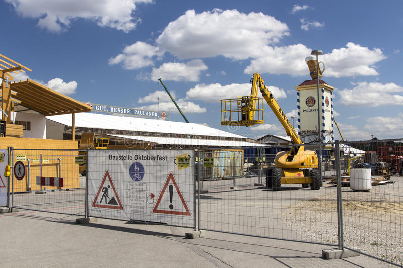 Buildup of the Oktoberfest tents at Theresienwiese in Munich, 20. Building works in preparation of the Oktoberfest 2015 with the buildup of the famous beer tents royalty free stock photos