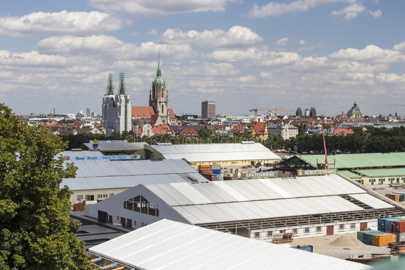 Buildup of the Oktoberfest tents at Theresienwiese in Munich, 20. Building works in preparation of the Oktoberfest 2015 with the buildup of the famous beer tents stock photo