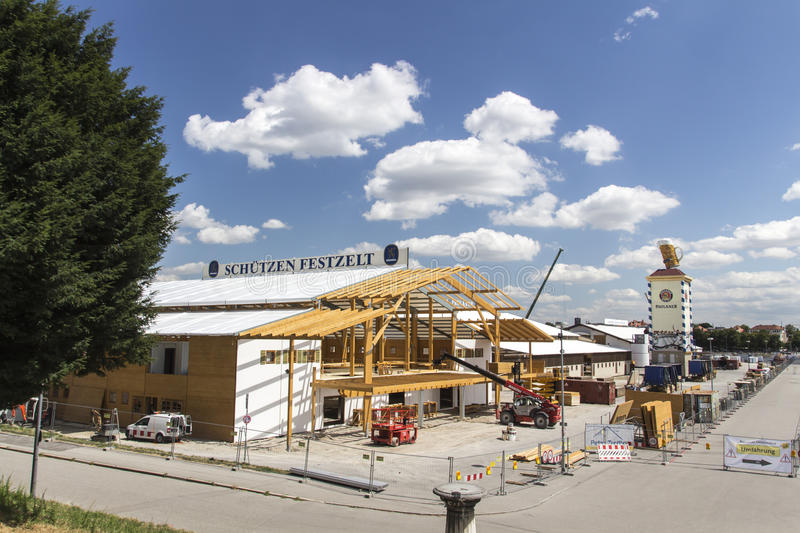 Buildup of the Oktoberfest tents at Theresienwiese in Munich, 20. Building works in preparation of the Oktoberfest 2015 with the buildup of the famous beer tents royalty free stock image