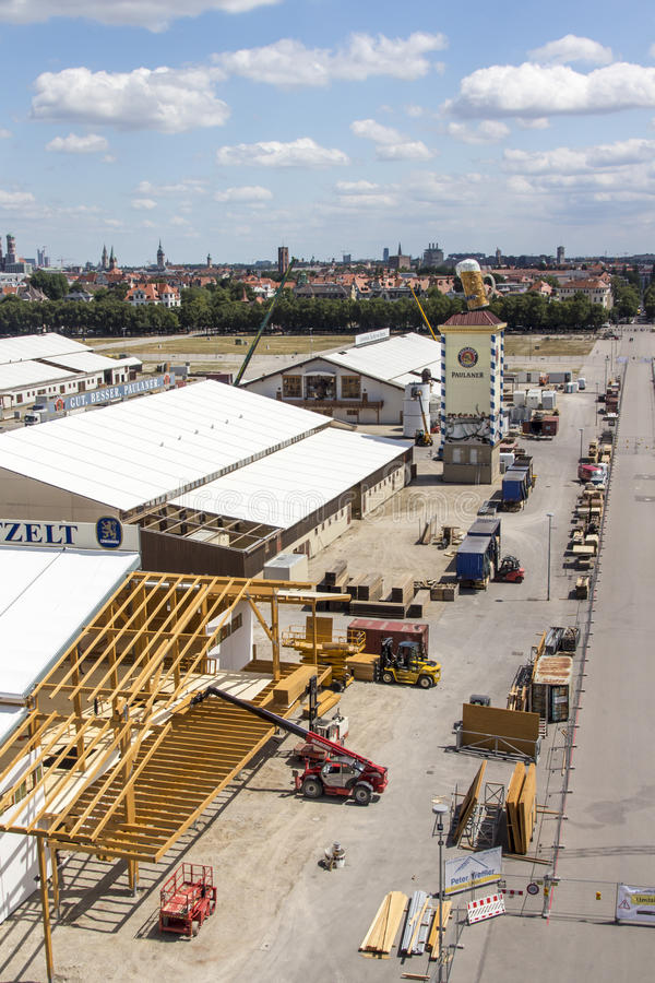 Buildup of the Oktoberfest tents at Theresienwiese in Munich, 20. Building works in preparation of the Oktoberfest 2015 with the buildup of the famous beer tents royalty free stock photography