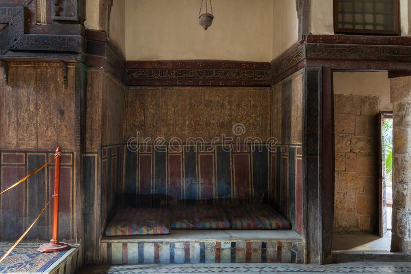 Built-in bench - couch - at historical ottoman era El Sehemy house, Cairo, Egypt. Built-in bench - couch - at historical El Sehemy house, an old Ottoman era royalty free stock images