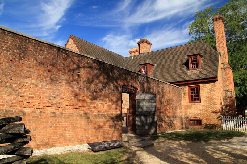 Public Gaol. Built in the early eighteenth century, the Public Gaol served as the main prison in Colonial Williamsburg October 6, 2017 in Williamsburg, VA royalty free stock photography