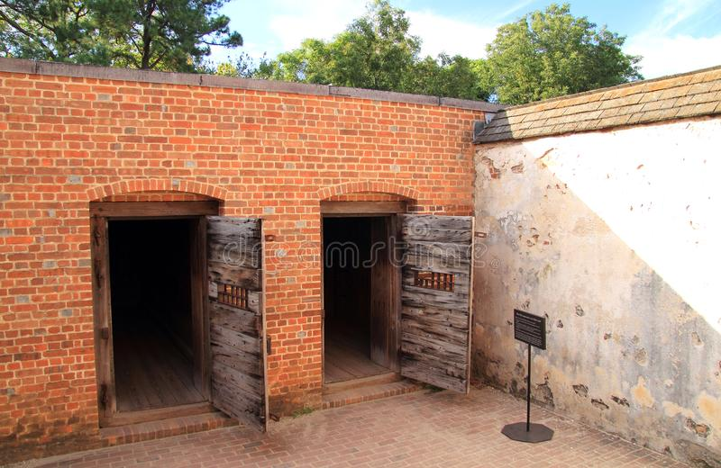 Public Gaol. Built in the early eighteenth century, the Public Gaol served as the main prison in Colonial Williamsburg October 6, 2017 in Williamsburg, VA stock photography