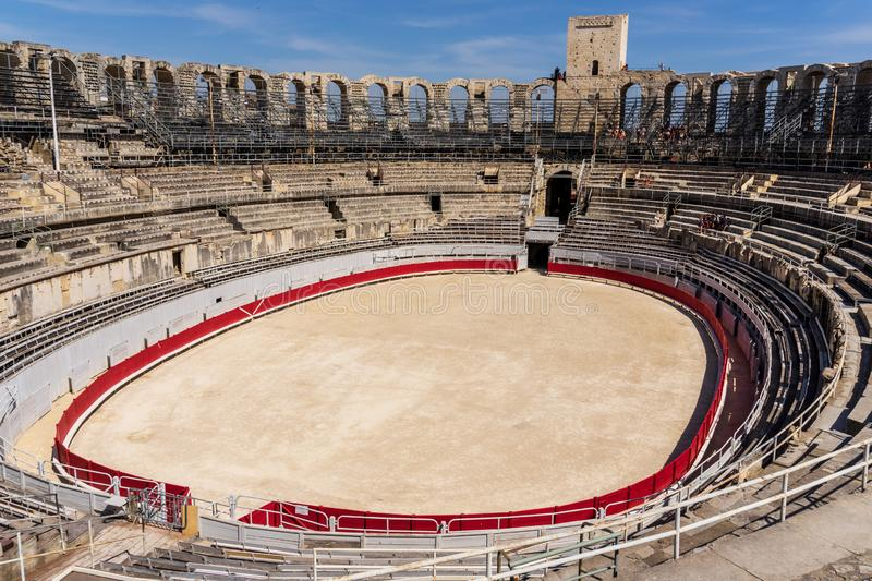Roman amphitheatre at Arles in France stock photography